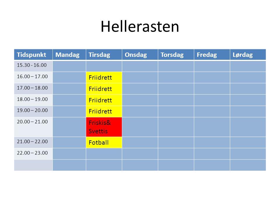 Hellerasten TidspunktMandagTirsdagOnsdagTorsdagFredagLørdag 15.30 - 16.00 16.00 – 17.00 Friidrett 17.00 – 18.00 Friidrett 18.00 – 19.00 Friidrett 19.00 – 20.00 Friidrett 20.00 – 21.00 Friskis& Svettis 21.00 – 22.00 Fotball 22.00 – 23.00