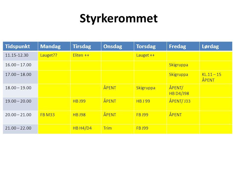 Styrkerommet TidspunktMandagTirsdagOnsdagTorsdagFredagLørdag 11.15-12.30Lauget Eliten ++Lauget ++ 16.00 – 17.00Skigruppa 17.00 – 18.00SkigruppaKL.11 – 15 ÅPENT 18.00 – 19.00ÅPENTSkigruppaÅPENT/ HB D4/J98 19.00 – 20.00HB J99ÅPENTHB J 99ÅPENT/ J33 20.00 – 21.00FB M33HB J98ÅPENTFB J99ÅPENT 21.00 – 22.00HB H4/D4TrimFB J99