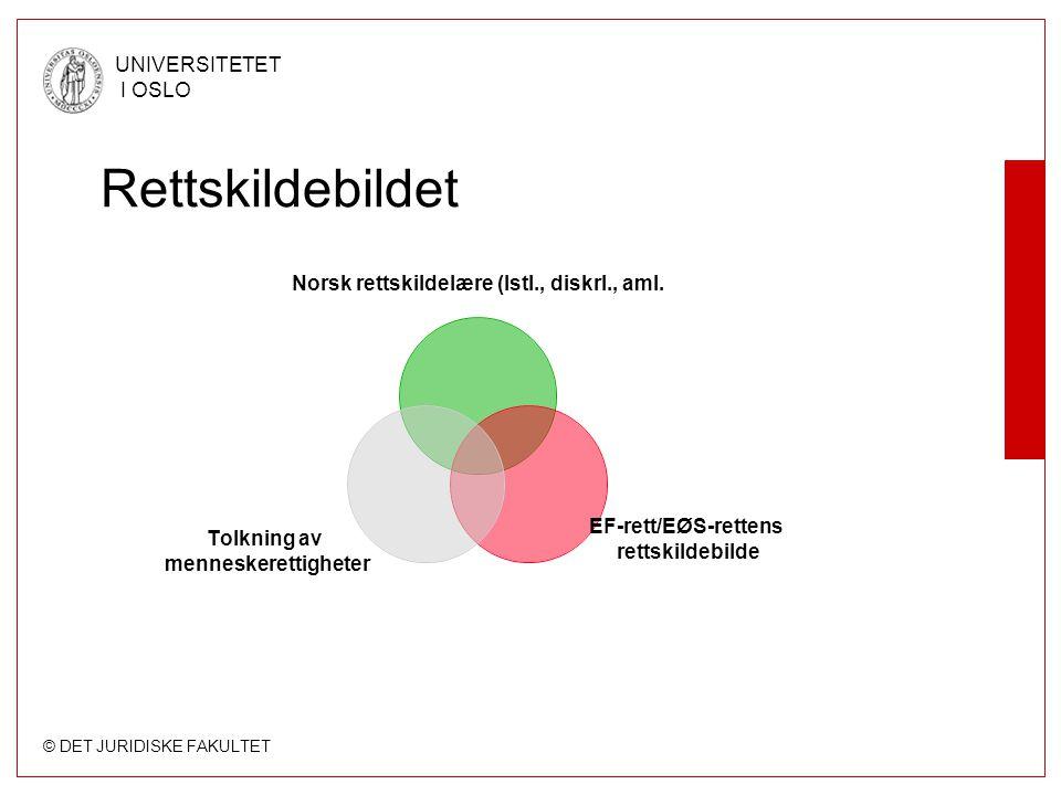 © DET JURIDISKE FAKULTET UNIVERSITETET I OSLO Rettskildebildet Norsk rettskildelære (lstl., diskrl., aml. EF-rett/EØS-rettens rettskildebilde Tolkning