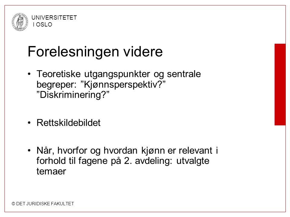 © DET JURIDISKE FAKULTET UNIVERSITETET I OSLO Diskrimineringsforbud i norsk rett (forts.): EF-/EØS-rett EØS-loven (nr.