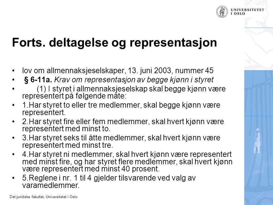 Det juridiske fakultet, Universitetet i Oslo Forts. deltagelse og representasjon lov om allmennaksjeselskaper, 13. juni 2003, nummer 45 § 6-11a. Krav