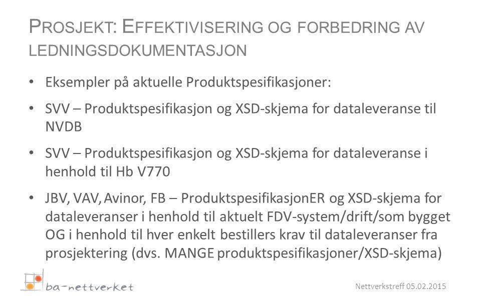 Eksempler på aktuelle Produktspesifikasjoner: SVV – Produktspesifikasjon og XSD-skjema for dataleveranse til NVDB SVV – Produktspesifikasjon og XSD-skjema for dataleveranse i henhold til Hb V770 JBV, VAV, Avinor, FB – ProduktspesifikasjonER og XSD-skjema for dataleveranser i henhold til aktuelt FDV-system/drift/som bygget OG i henhold til hver enkelt bestillers krav til dataleveranser fra prosjektering (dvs.