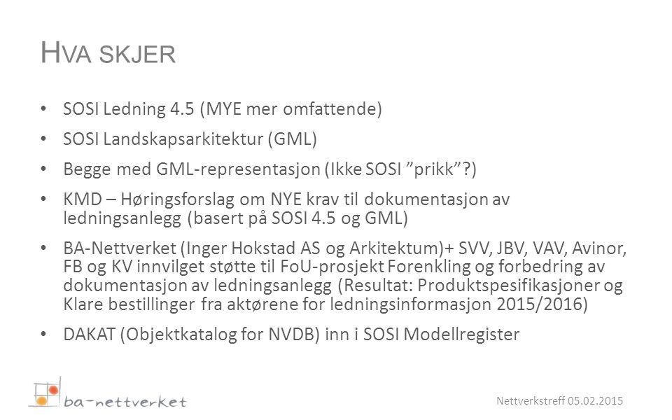 SOSI Ledning 4.5 (MYE mer omfattende) SOSI Landskapsarkitektur (GML) Begge med GML-representasjon (Ikke SOSI prikk ) KMD – Høringsforslag om NYE krav til dokumentasjon av ledningsanlegg (basert på SOSI 4.5 og GML) BA-Nettverket (Inger Hokstad AS og Arkitektum)+ SVV, JBV, VAV, Avinor, FB og KV innvilget støtte til FoU-prosjekt Forenkling og forbedring av dokumentasjon av ledningsanlegg (Resultat: Produktspesifikasjoner og Klare bestillinger fra aktørene for ledningsinformasjon 2015/2016) DAKAT (Objektkatalog for NVDB) inn i SOSI Modellregister Nettverkstreff 05.02.2015 H VA SKJER