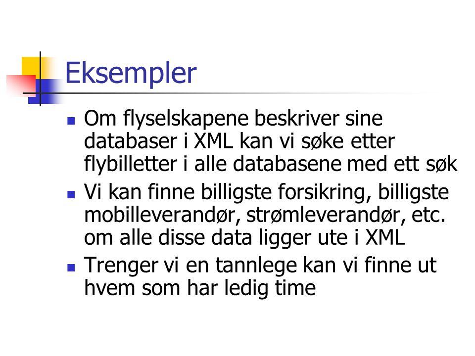 Eksempler Om flyselskapene beskriver sine databaser i XML kan vi søke etter flybilletter i alle databasene med ett søk Vi kan finne billigste forsikring, billigste mobilleverandør, strømleverandør, etc.