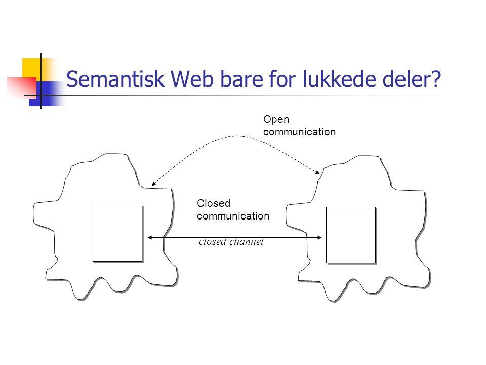 Semantisk Web bare for lukkede deler Open communication Closed communication closed channel