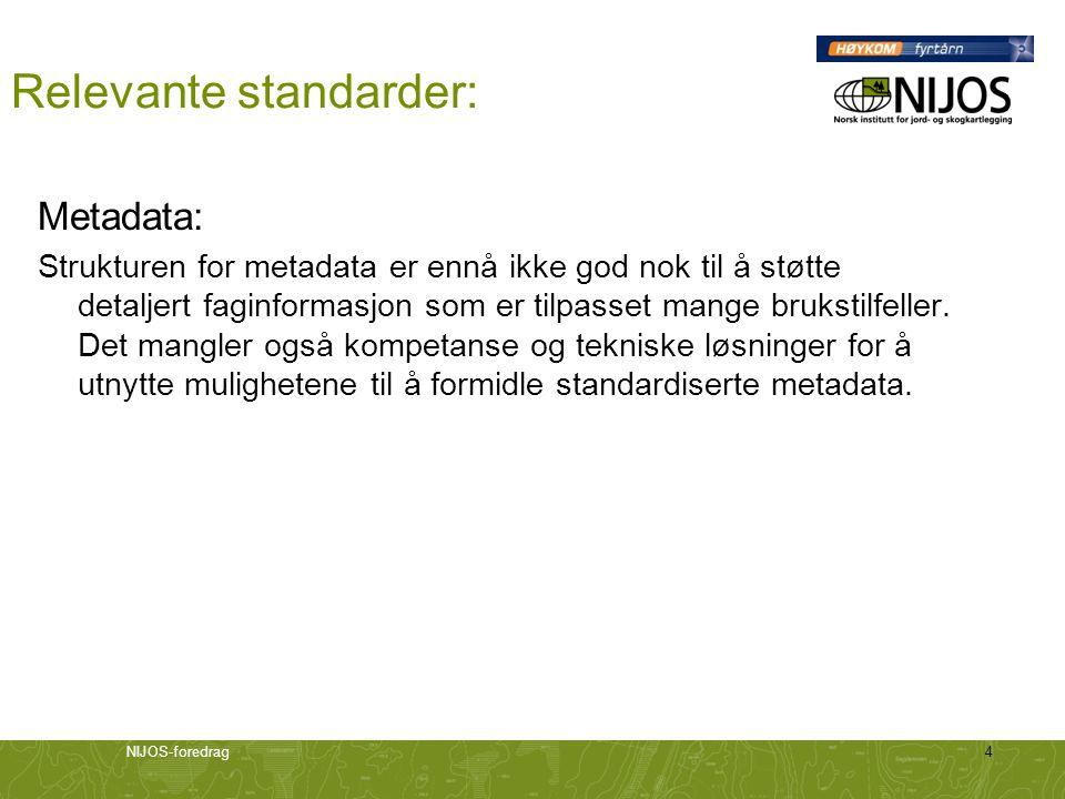 NIJOS-foredrag5 Relevante standarder: Objektkataloger: Inneholder beskrivelser av objekttyper med egenskaper, forhold og funksjoner knyttet til informasjonen i et datasett.