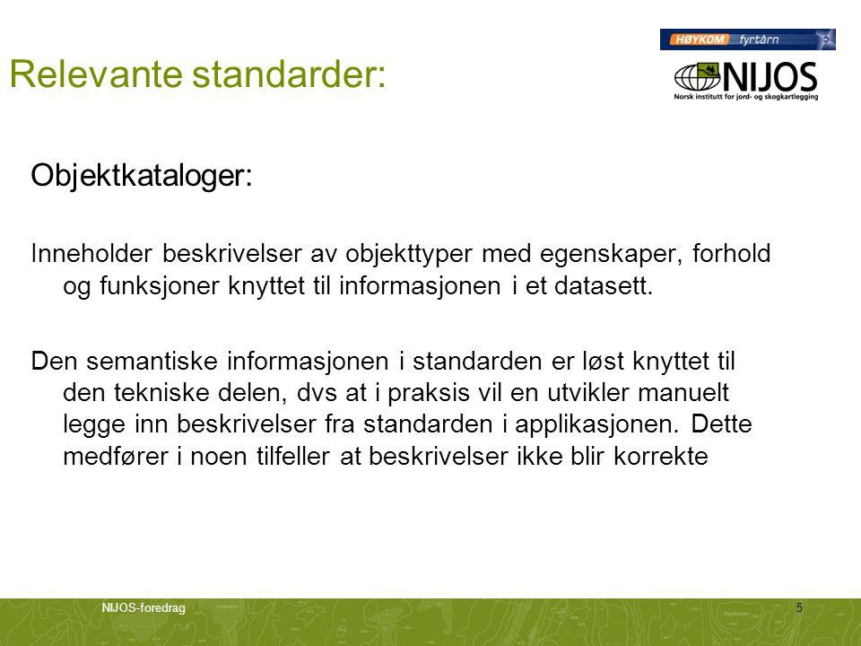 NIJOS-foredrag5 Relevante standarder: Objektkataloger: Inneholder beskrivelser av objekttyper med egenskaper, forhold og funksjoner knyttet til inform