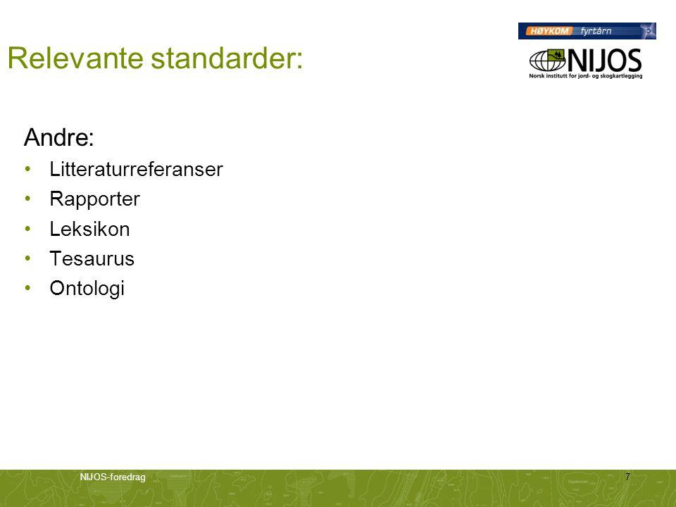 NIJOS-foredrag7 Relevante standarder: Andre: Litteraturreferanser Rapporter Leksikon Tesaurus Ontologi