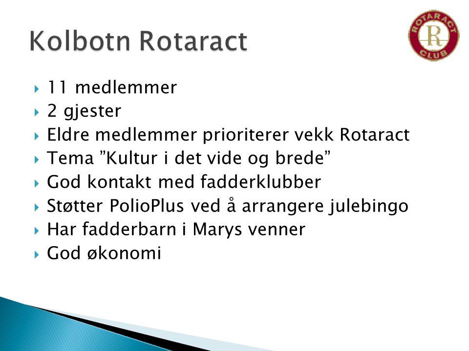  11 medlemmer  2 gjester  Eldre medlemmer prioriterer vekk Rotaract  Tema Kultur i det vide og brede  God kontakt med fadderklubber  Støtter PolioPlus ved å arrangere julebingo  Har fadderbarn i Marys venner  God økonomi