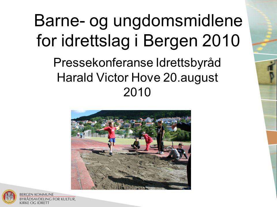 Pressekonferanse Idrettsbyråd Harald Victor Hove 20.august 2010 Barne- og ungdomsmidlene for idrettslag i Bergen 2010