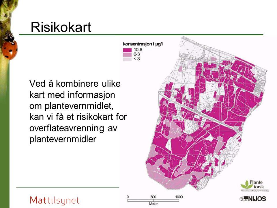 Risikokart Ved å kombinere ulike kart med informasjon om plantevernmidlet, kan vi få et risikokart for overflateavrenning av plantevernmidler