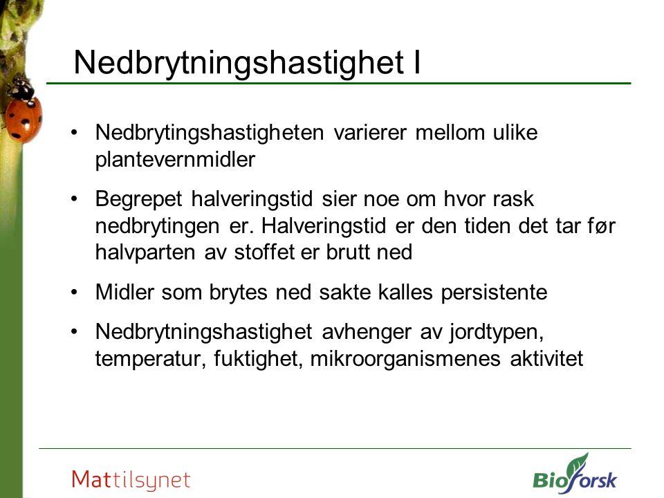 Nedbrytningshastighet I Nedbrytingshastigheten varierer mellom ulike plantevernmidler Begrepet halveringstid sier noe om hvor rask nedbrytingen er.