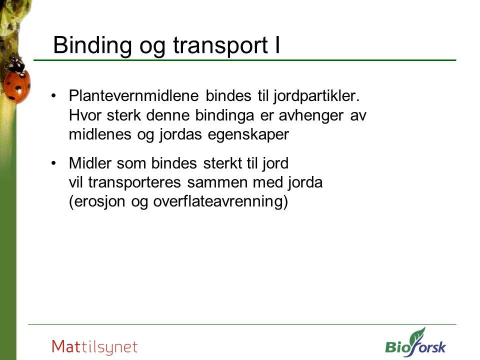 Binding og transport I Plantevernmidlene bindes til jordpartikler. Hvor sterk denne bindinga er avhenger av midlenes og jordas egenskaper Midler som b