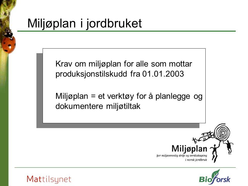 Miljøplan i jordbruket Krav om miljøplan for alle som mottar produksjonstilskudd fra 01.01.2003 Miljøplan = et verktøy for å planlegge og dokumentere