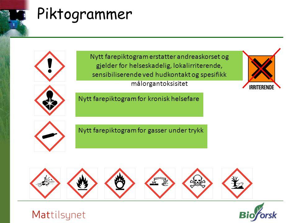 Piktogrammer Nytt farepiktogram erstatter andreaskorset og gjelder for helseskadelig, lokalirriterende, sensibiliserende ved hudkontakt og spesifikk m