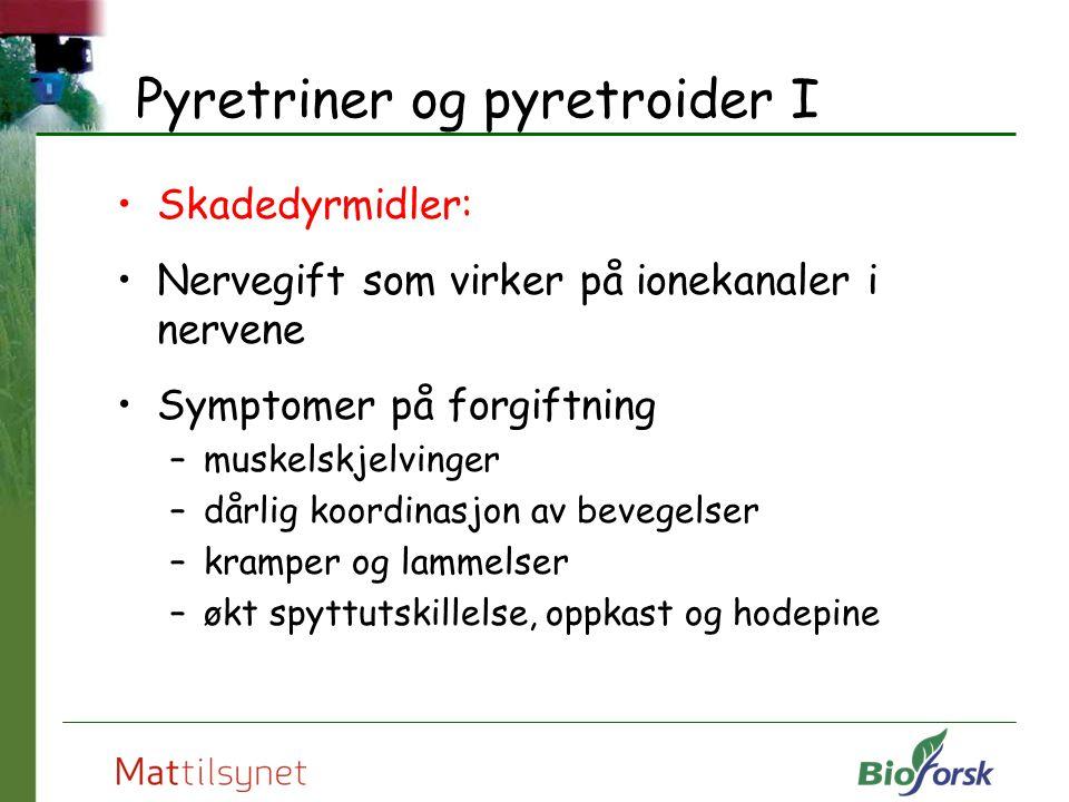 Pyretriner og pyretroider I Skadedyrmidler: Nervegift som virker på ionekanaler i nervene Symptomer på forgiftning –muskelskjelvinger –dårlig koordina