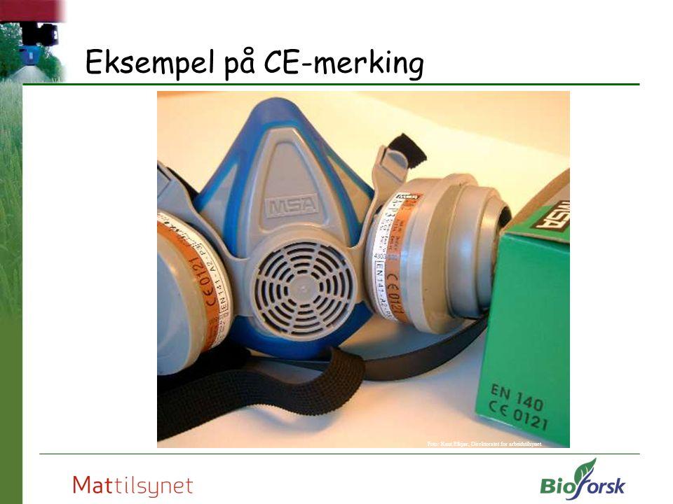 Eksempel på CE-merking Foto: Knut Elkjær, Direktoratet for arbeidstilsynet