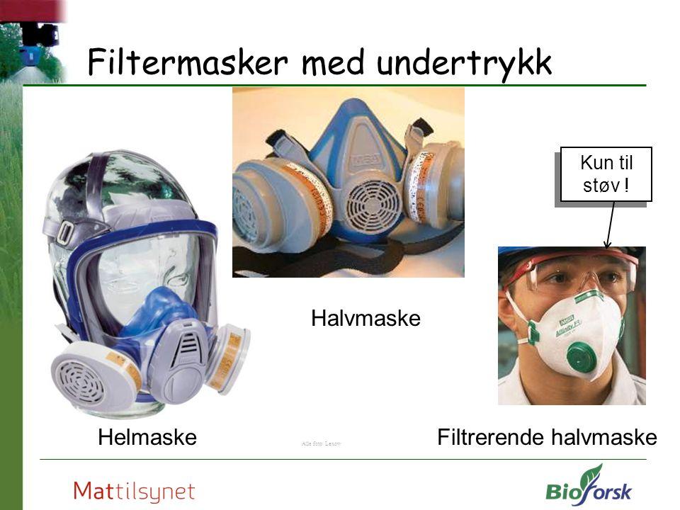 Filtermasker med undertrykk Helmaske Halvmaske Filtrerende halvmaske Alle foto: Lexow Kun til støv !