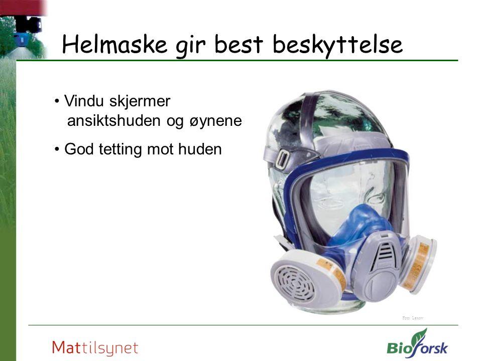 Helmaske gir best beskyttelse Vindu skjermer ansiktshuden og øynene God tetting mot huden Foto: Lexow