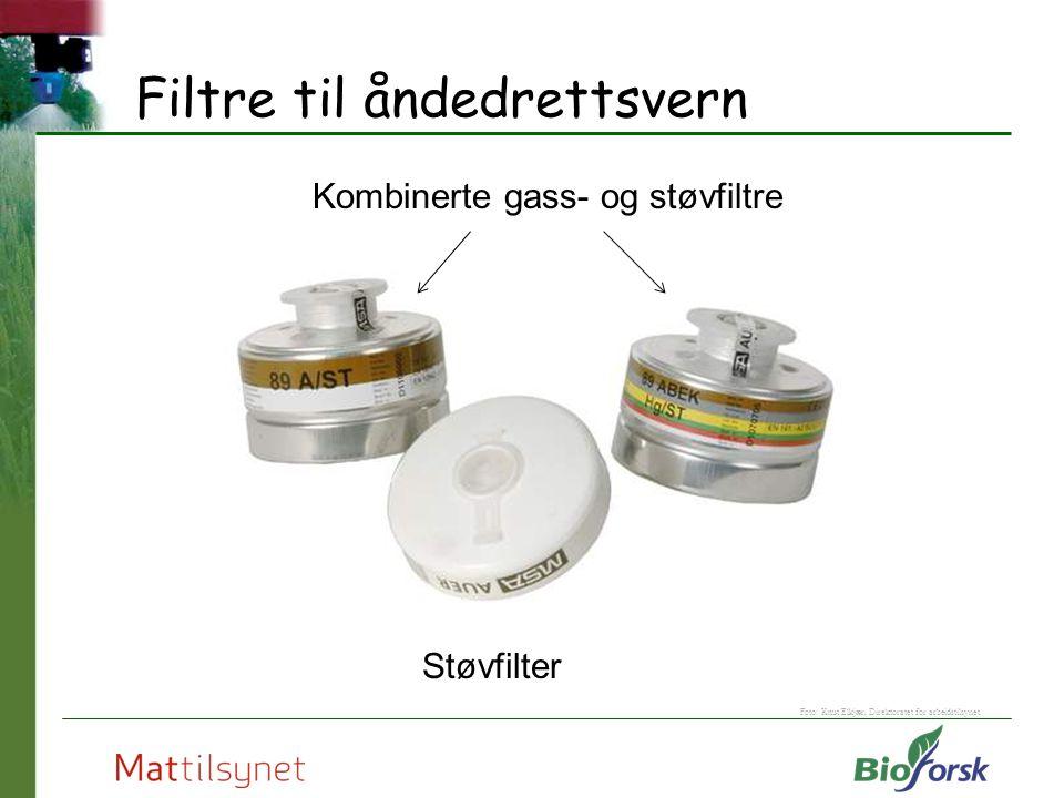 Filtre til åndedrettsvern Støvfilter Kombinerte gass- og støvfiltre Foto: Knut Elkjær, Direktoratet for arbeidstilsynet