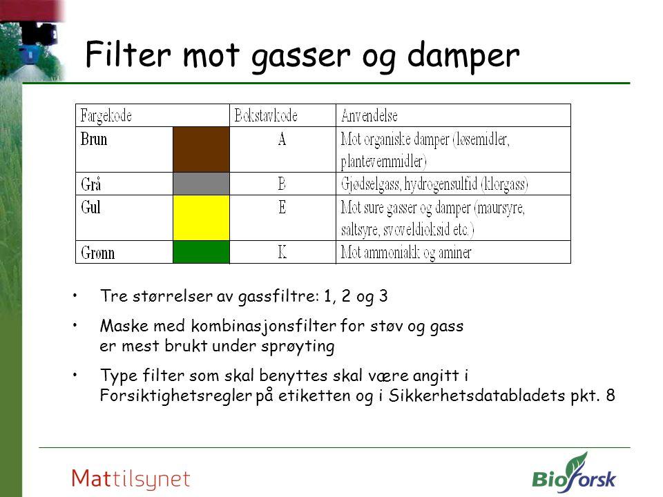 Filter mot gasser og damper Tre størrelser av gassfiltre: 1, 2 og 3 Maske med kombinasjonsfilter for støv og gass er mest brukt under sprøyting Type f