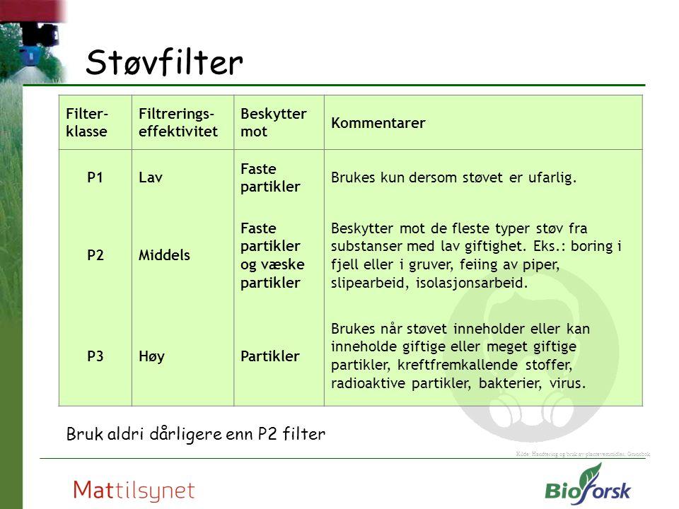 Støvfilter Bruk aldri dårligere enn P2 filter Kilde: Handtering og bruk av plantevernmidler, Grunnbok Filter- klasse Filtrerings- effektivitet Beskytt