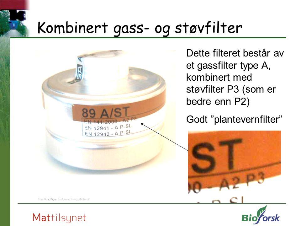 """Kombinert gass- og støvfilter Dette filteret består av et gassfilter type A, kombinert med støvfilter P3 (som er bedre enn P2) Godt """"plantevernfilter"""""""