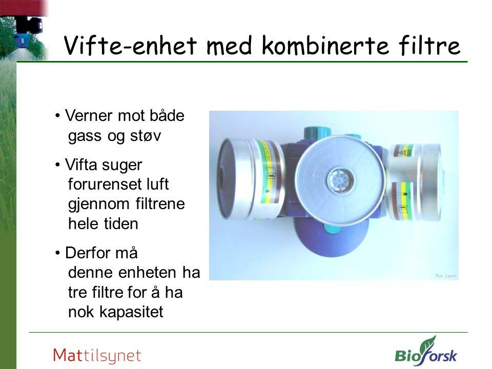 Vifte-enhet med kombinerte filtre Verner mot både gass og støv Vifta suger forurenset luft gjennom filtrene hele tiden Derfor må denne enheten ha tre