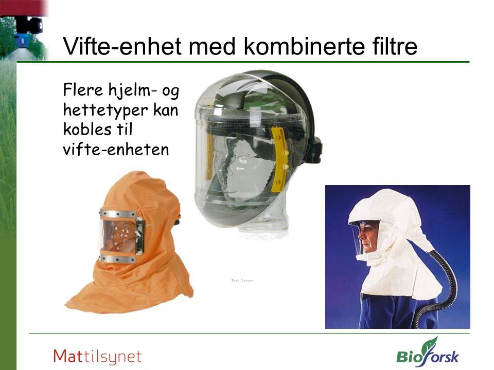 Flere hjelm- og hettetyper kan kobles til vifte-enheten Foto: Lexow Vifte-enhet med kombinerte filtre