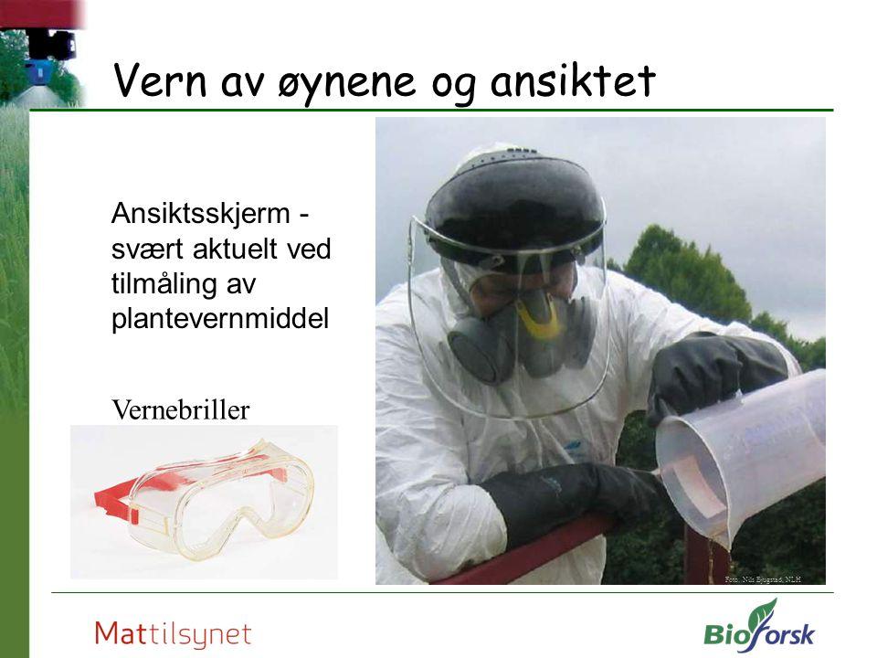 Vern av øynene og ansiktet Ansiktsskjerm - svært aktuelt ved tilmåling av plantevernmiddel Foto: Nils Bjugstad, NLH Vernebriller