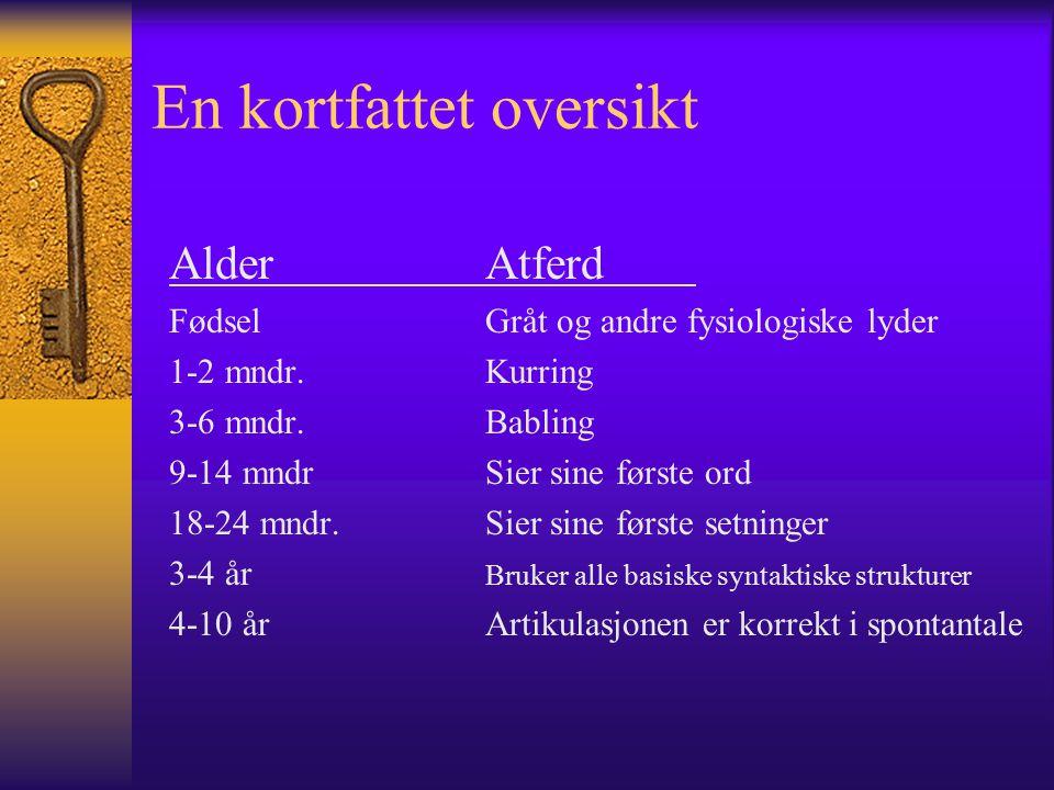 En kortfattet oversikt AlderAtferd Fødsel Gråt og andre fysiologiske lyder 1-2 mndr.Kurring 3-6 mndr.