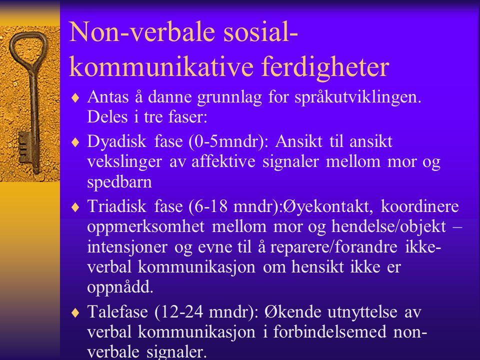 Non-verbale sosial- kommunikative ferdigheter  Antas å danne grunnlag for språkutviklingen.