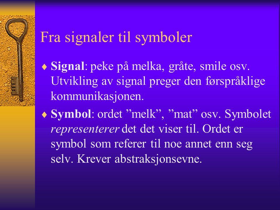 Fra signaler til symboler  Signal: peke på melka, gråte, smile osv.