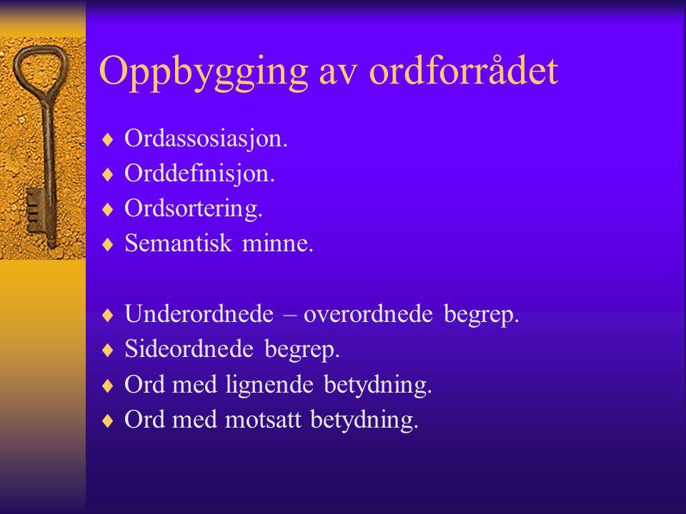 Oppbygging av ordforrådet  Ordassosiasjon. Orddefinisjon.
