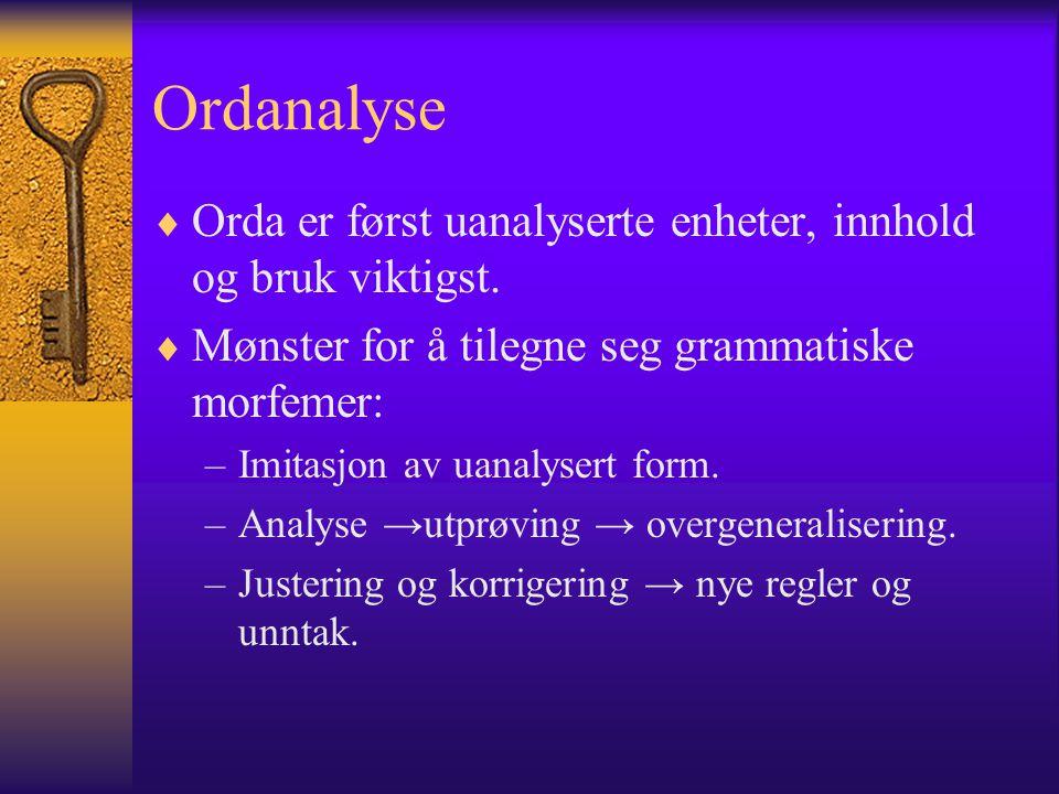 Ordanalyse  Orda er først uanalyserte enheter, innhold og bruk viktigst.