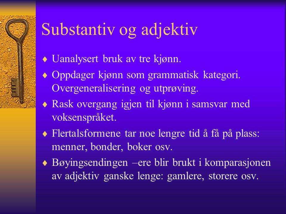 Substantiv og adjektiv  Uanalysert bruk av tre kjønn.