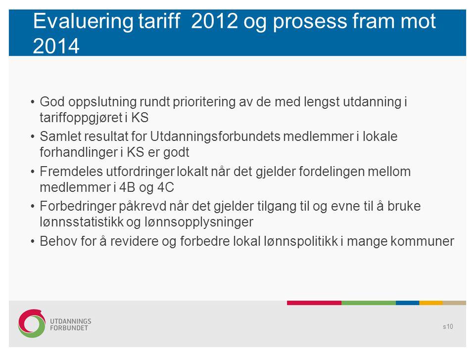Evaluering tariff 2012 og prosess fram mot 2014 God oppslutning rundt prioritering av de med lengst utdanning i tariffoppgjøret i KS Samlet resultat f