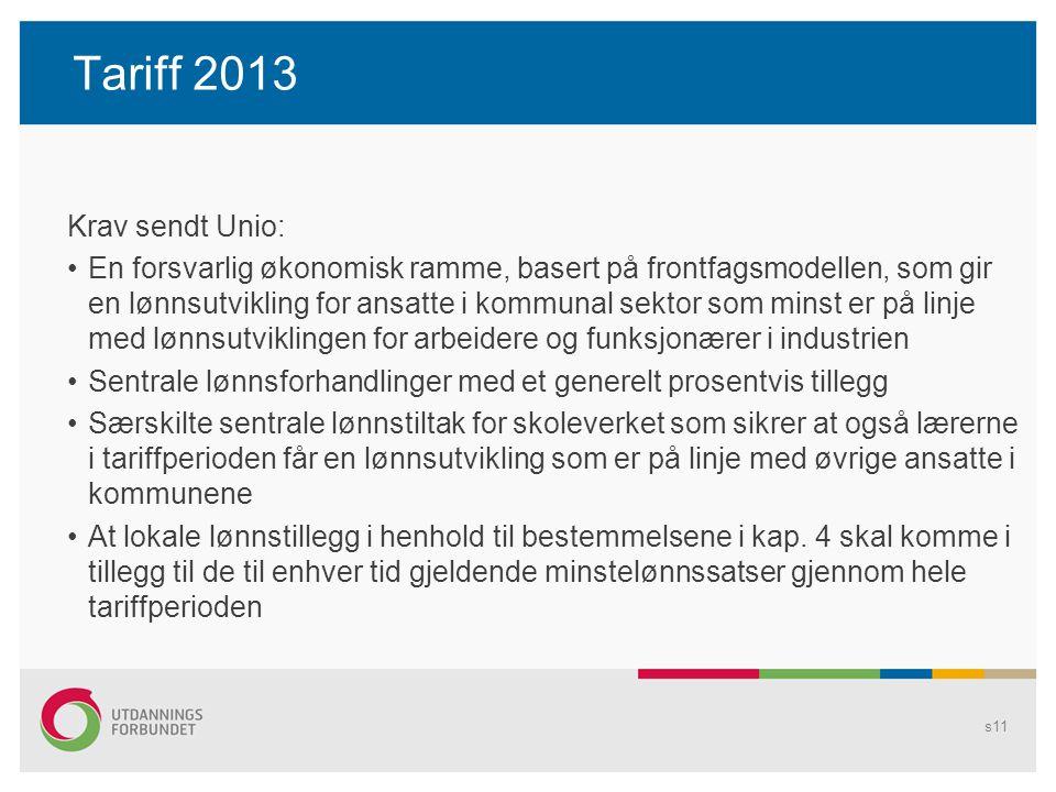 Tariff 2013 Krav sendt Unio: En forsvarlig økonomisk ramme, basert på frontfagsmodellen, som gir en lønnsutvikling for ansatte i kommunal sektor som m