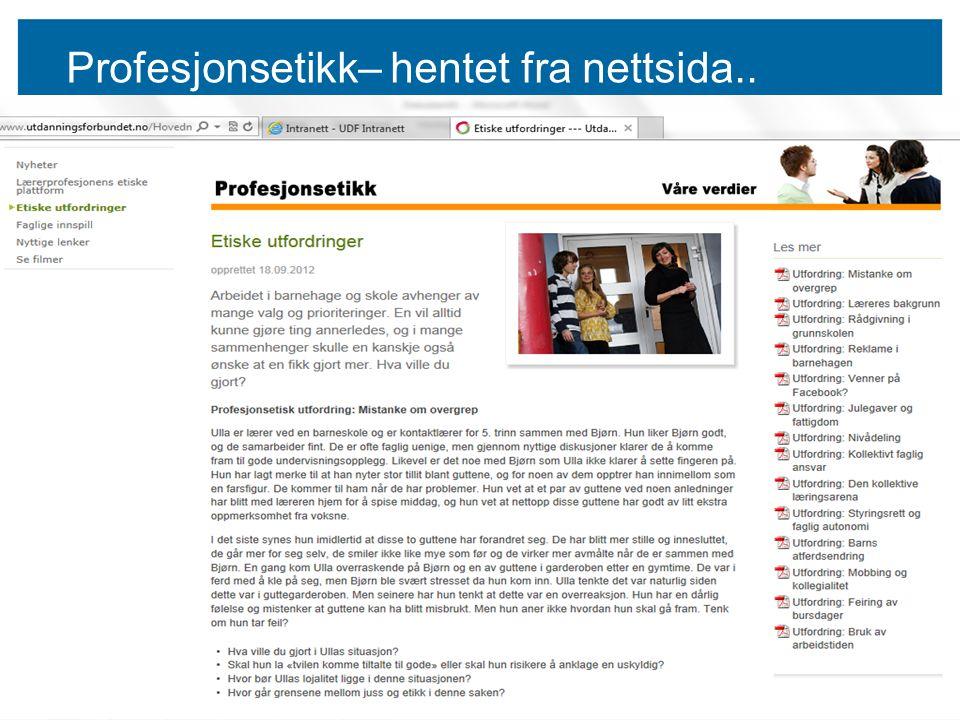 Profesjonsetikk– hentet fra nettsida.. s4