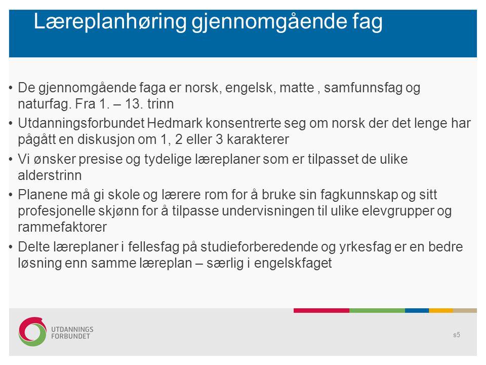 Læreplanhøring gjennomgående fag De gjennomgående faga er norsk, engelsk, matte, samfunnsfag og naturfag. Fra 1. – 13. trinn Utdanningsforbundet Hedma