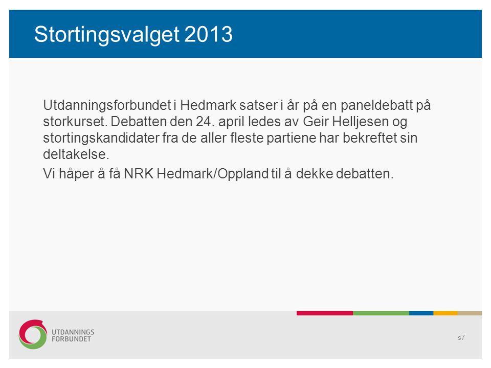 Stortingsvalget 2013 Utdanningsforbundet i Hedmark satser i år på en paneldebatt på storkurset. Debatten den 24. april ledes av Geir Helljesen og stor