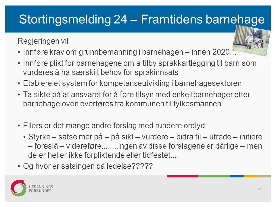 Stortingsmelding 24 – Framtidens barnehage Regjeringen vil Innføre krav om grunnbemanning i barnehagen – innen 2020... Innføre plikt for barnehagene o