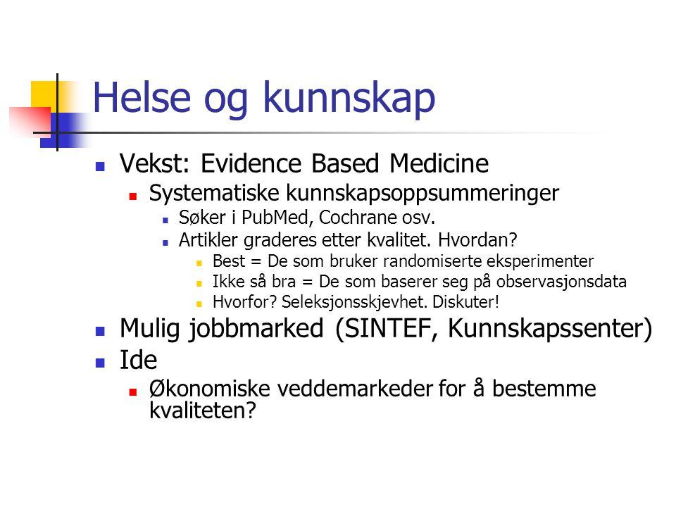 Helse og kunnskap Vekst: Evidence Based Medicine Systematiske kunnskapsoppsummeringer Søker i PubMed, Cochrane osv. Artikler graderes etter kvalitet.