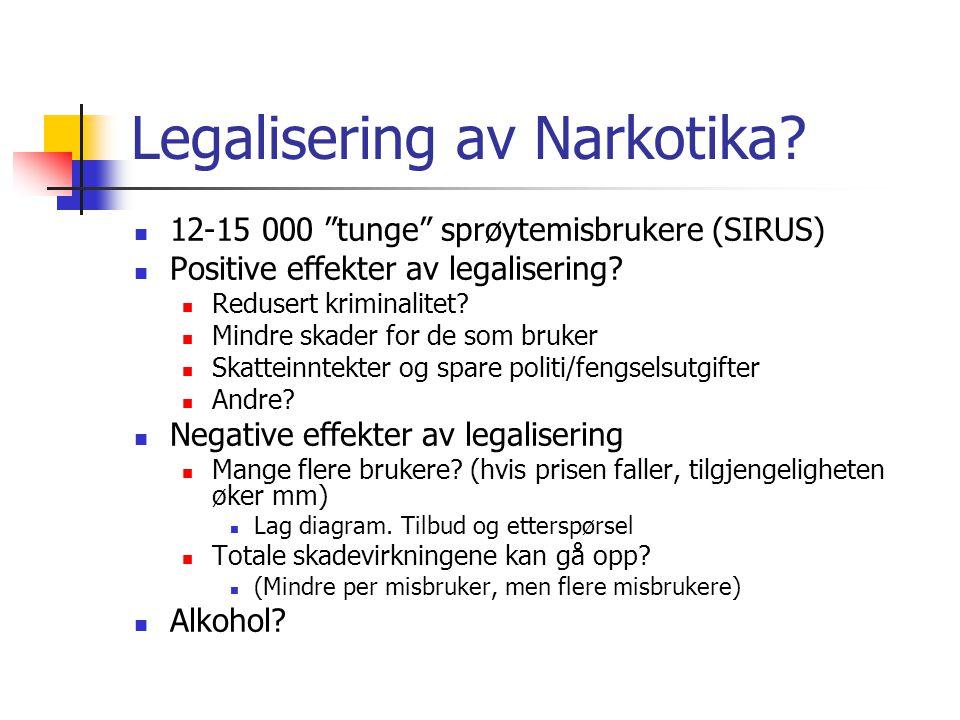 """Legalisering av Narkotika? 12-15 000 """"tunge"""" sprøytemisbrukere (SIRUS) Positive effekter av legalisering? Redusert kriminalitet? Mindre skader for de"""