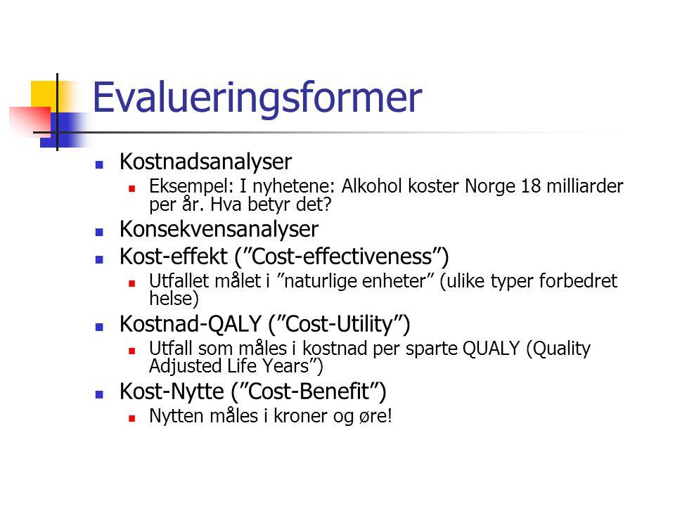 """Evalueringsformer Kostnadsanalyser Eksempel: I nyhetene: Alkohol koster Norge 18 milliarder per år. Hva betyr det? Konsekvensanalyser Kost-effekt (""""Co"""
