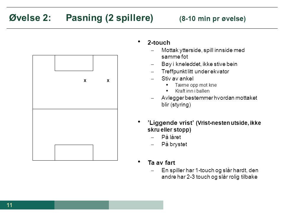 11 Øvelse 2:Pasning (2 spillere) (8-10 min pr øvelse) xx  2-touch  Mottak ytterside, spill innside med samme fot  Bøy i kneleddet, ikke stive bein