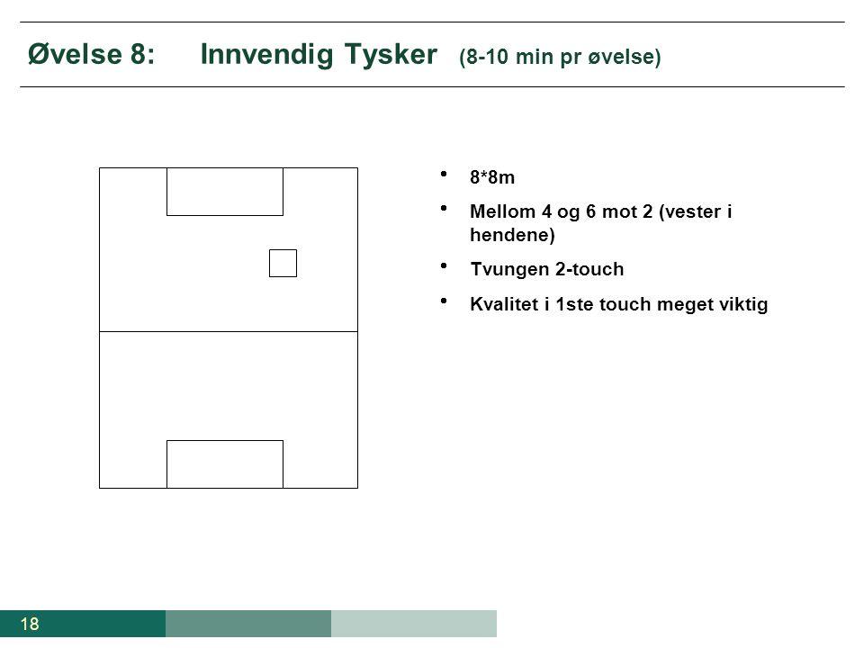 18 Øvelse 8:Innvendig Tysker (8-10 min pr øvelse)  8*8m  Mellom 4 og 6 mot 2 (vester i hendene)  Tvungen 2-touch  Kvalitet i 1ste touch meget vikt