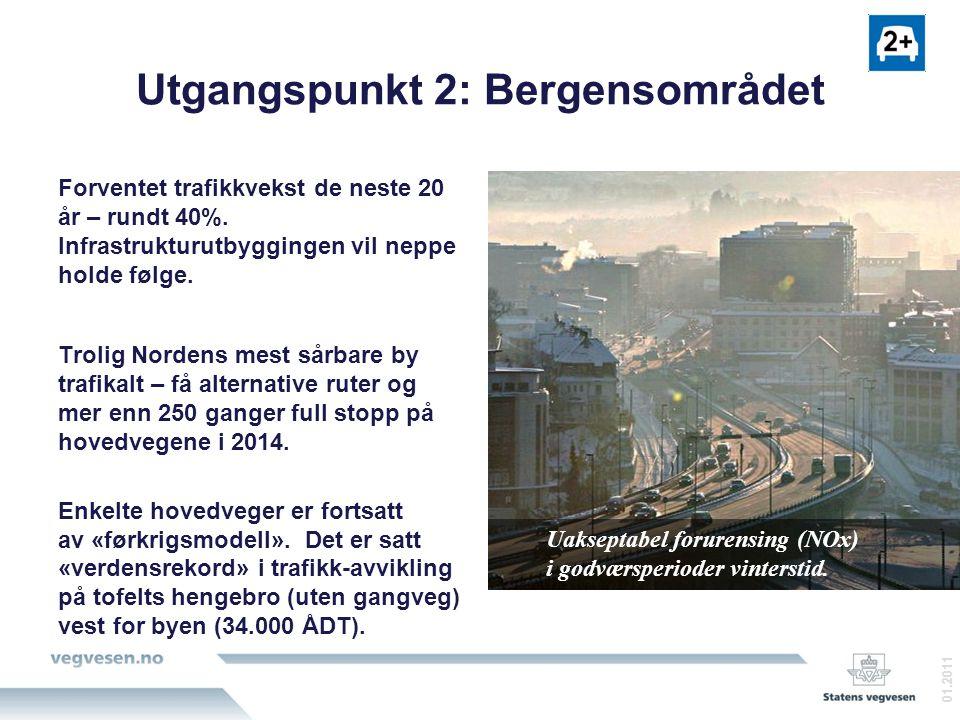 Utgangspunkt 2: Bergensområdet Forventet trafikkvekst de neste 20 år – rundt 40%.
