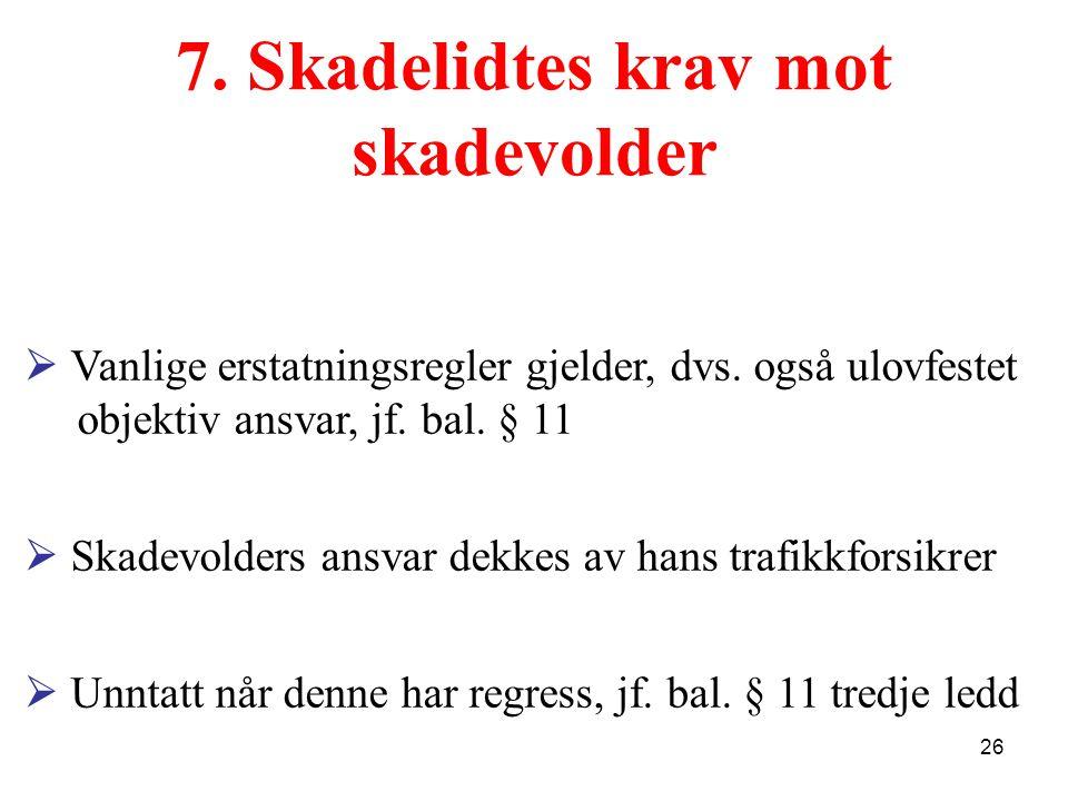 7. Skadelidtes krav mot skadevolder  Vanlige erstatningsregler gjelder, dvs. også ulovfestet objektiv ansvar, jf. bal. § 11  Skadevolders ansvar dek