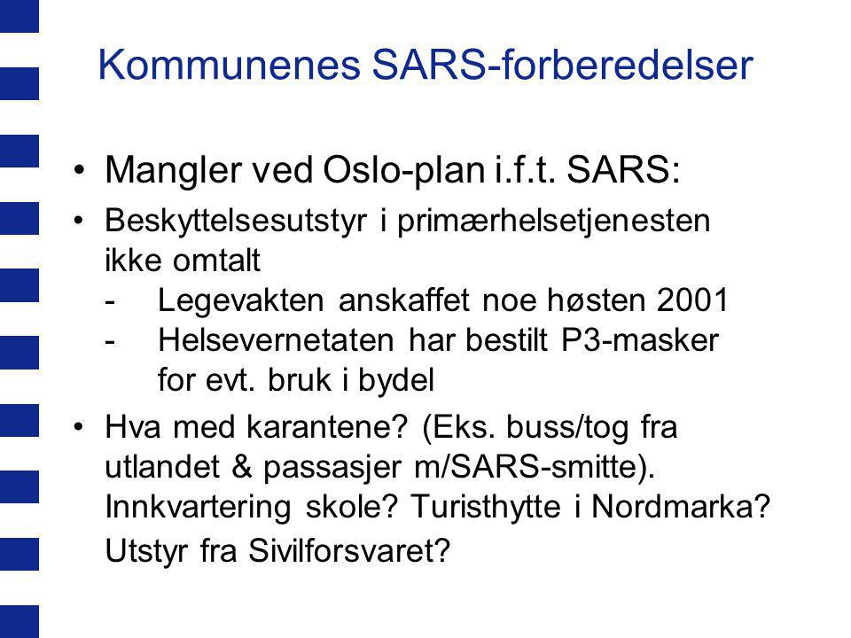 Kommunenes SARS-forberedelser SARS-info sendt ut fra FHI/SHDir medio mars via fylkesmannen til kommunene Møte i beredskapsgruppa for smittevern i Oslo 20.03 (Smittevernoverlegen, tre bydelsoverleger, Legevakten, Beredskaps- etaten, UUS.